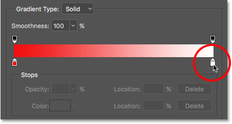 Double-clicking on the white color stop in the Gradient Editor