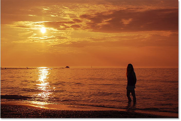 Photoshop warm golden sunset effect.