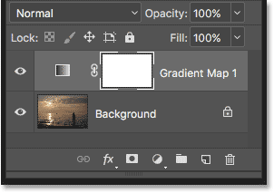 The Layers panel now showing the Gradient Map adjustment layer.