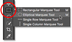 Selecting the Elliptical Marquee Tool in Photoshop.